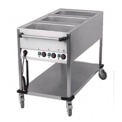 Chariot bain marie professionnel 3 cuves GN 1/1
