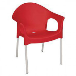 Fauteuils bistro rouges BOLERO - Lot de 4