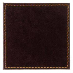 Lot de 4 dessous de verre en simili cuir marron - 100 x 100 mm