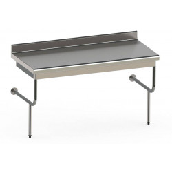 Table semi-suspendue en inox professionnelle 600 x 1800 mm