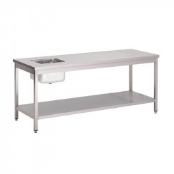 Table du chef inox centrale 1 bac a droite 700 x 1600 mm