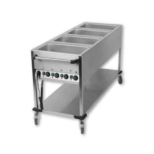 Chariot bain marie professionnel avec 4 cuves gn 1 1 for Chariot cuisine professionnel