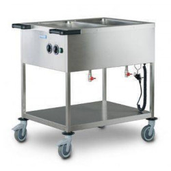 Chariot bain marie à feuilles chauffantes professionnel HUPFER - 2 cuves GN 1/1