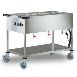 Chariot bain marie à feuilles chauffantes professionnel HUPFER - 3 cuves GN 1/1