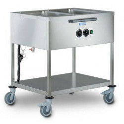 Chariot bain marie commandes latérales professionnel HUPFER - 2 cuves GN 1/1