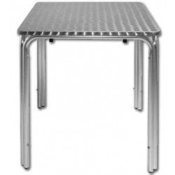 Table carrée de bistro empilable en inox BOLERO - 600 x 600 mm