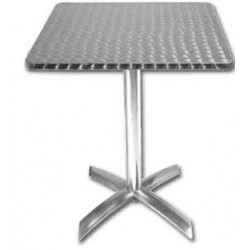 Table carrée de bistro en inox BOLERO - 600 x 600 mm