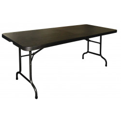 Table rectangulaire noire pliante par le centre BOLERO - 1,8 m