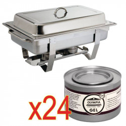 Chafing dish Milan GN 1/1inox OLYMPIA + 24 capsules de combustible