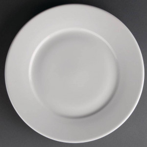 Assiettes à large bord en porcelaine ATHENA Ø 254 mm - Lot de 12