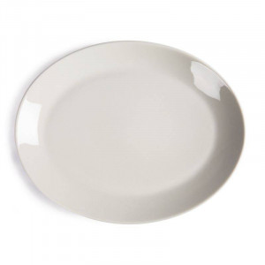 Assiettes coupes ovales en porcelaine ivoire OLYMPIA 290 mm - Lot de 12