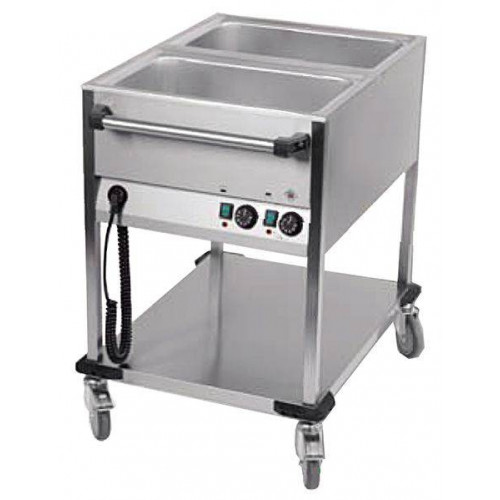 Chariot bain marie professionnel 2 cuves GN 1/1 Chariot bain marie professionnel 2 cuves GN 1/1