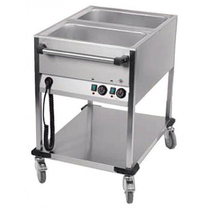 Chariot bain marie professionnel 2 cuves GN 1/1