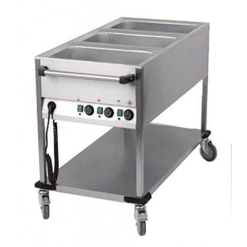 Chariot bain marie professionnel 3 cuves GN 1/1 Chariot bain marie professionnel 3 cuves GN 1/1