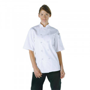 Veste Chef blanche à manches courtes unisexe Volnay - Taille XS