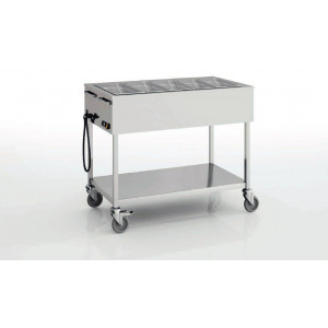 Chariot bain marie professionnel 4 cuves GN 1/1