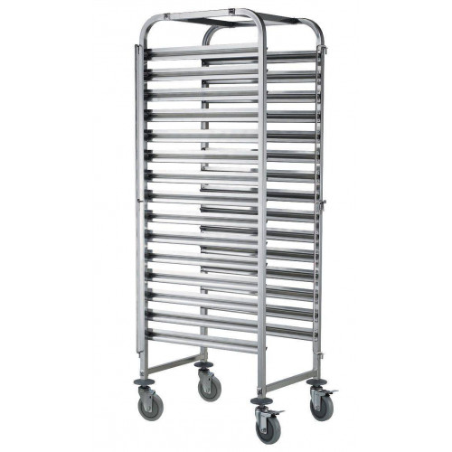 Chariot inox mobile 15 niveaux 600 x 400 mm Chariot inox mobile 15 niveaux 600 x 400 mm
