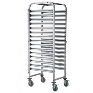 Chariot inox mobile 15 niveaux 600 x 400 mm