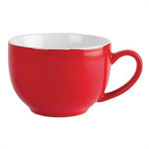 Tasses à cappuccino en porcelaine rouges OLYMPIA 340 ml - Lot de 12