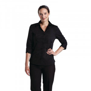 Chemisier stretch noir professionnel UNIFORM WORKS - Taille XS Chemisier stretch noir professionnel UNIFORM WORKS - Taille XS