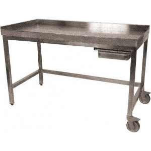 Table de poussage professionnelle en inox 700 x 1400 mm