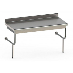 Table semi-suspendue en inox professionnelle 600 x 1400 mm