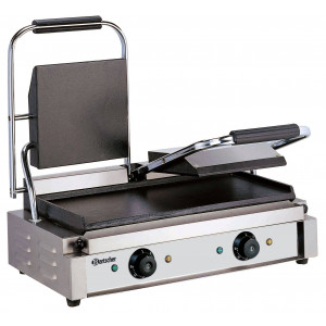 Double grill contact professionnel BARTSCHER - Plaques lisses