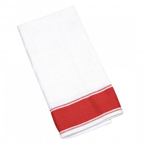 Lot de 10 serviettes 100% coton blanches et rouges