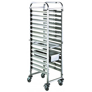 Chariot inox mobile 20 niveaux 400 x 600 mm Chariot inox mobile 20 niveaux GN 1/1