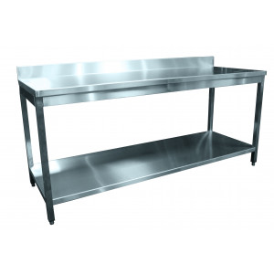 Table inox adossée 2000 x 600 mm Table inox adossée