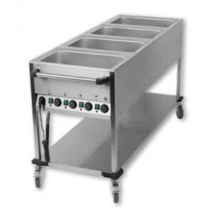 Chariot bain marie professionnel 4 cuves GN 1/1 Chariot bain marie professionnel 4 cuves GN 1/1