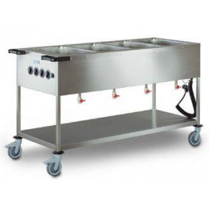 Chariot bain marie 4 cuves professionnel électrique HUPFER - Pour 80 personnes Chariot bain marie 4 cuves professionnel électrique HUPFER - Pour 80 personnes