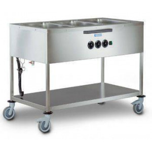 Chariot bain marie commandes latérales professionnel HUPFER - 3 cuves GN 1/1