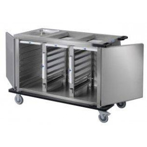 Chariot bain marie froid passif professionnel HUPFER - 3 x 7 niveaux GN 1/1