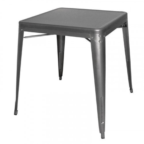 STOCK EPUISE ! Table empilable grise métallisée en acier BOLERO Table empilable grise métallisée en acier BOLERO