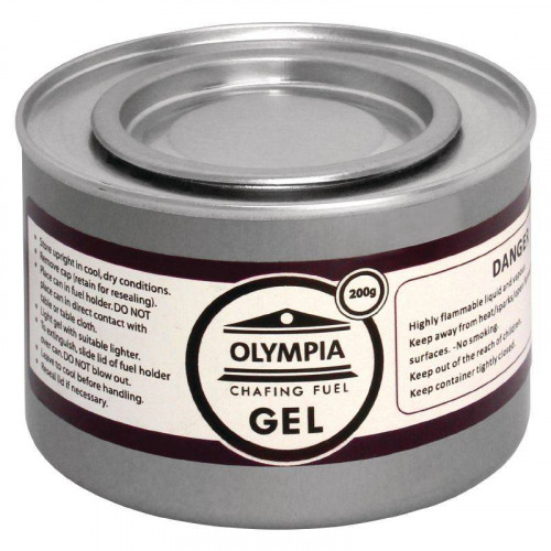 Gel combustible OLYMPIA pour chafing dish 200 gr - Lot de 12 Gel combustible OLYMPIA pour chafing dish 200 gr - Lot de 12