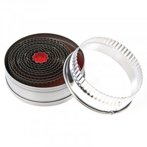 Lot de 11 moules ronds cannelés en acier VOGUE - 20 à 56 mm