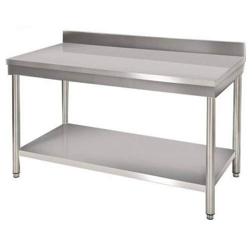 Table de travail murale en inox 600 x 1400 mm
