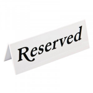 "Signalétiques de table en plastique ""Reserved"" - Lot de 10 Signalétiques de table en plastique ""Reserved"" - Lot de 10"