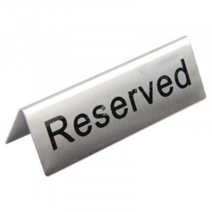 "Signalétiques de table en inox ""Reserved"" - Lot de 10 Signalétiques de table en inox ""Reserved"" - Lot de 10"