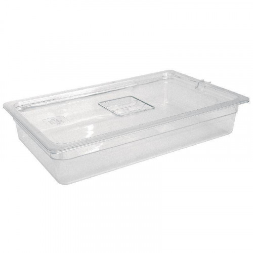 STOCK EPUISE ! Bac Gastronorm GN 1/1 hauteur 65 mm en polycarbonate transparent VOGUE  Bac Gastronorm GN 1/1 hauteur 65 mm en polycarbonate transparent VOGUE