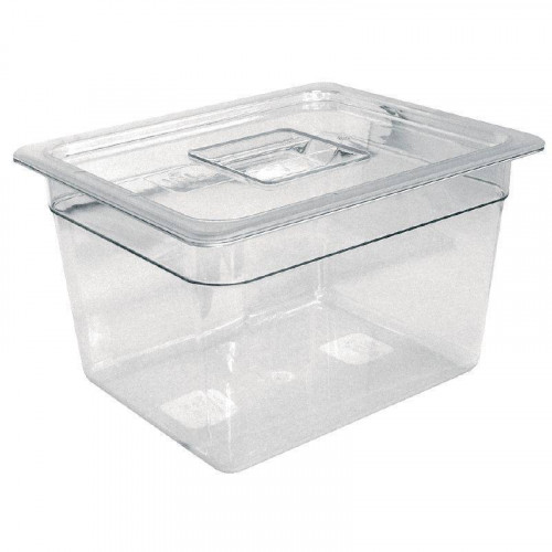 STOCK EPUISE ! Bac Gastronorm GN 1/4 hauteur 65 mm en polycarbonate transparent VOGUE  Bac Gastronorm GN 1/4 hauteur 65 mm en polycarbonate transparent VOGUE