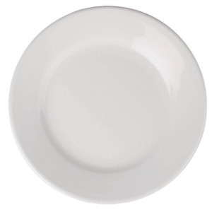 Assiettes à large bord en porcelaine ATHENA Ø 203 mm - Lot de 12